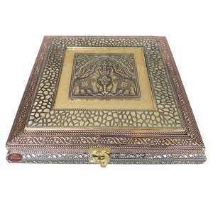 Antique TWIN ELEPHANT designed Wooden Handmade Decorative Platter-Dry Fruit Box (10x10x2.25)