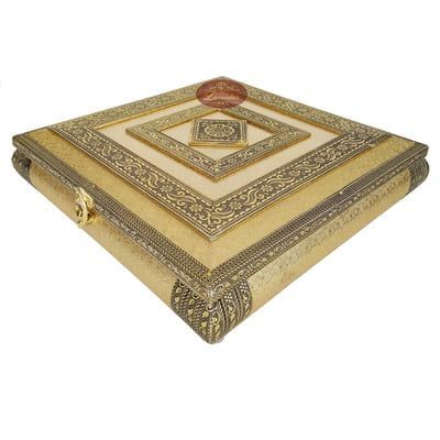 Golden Artificial Leather finish, Wooden Handmade Rajwadi Chocolate Box