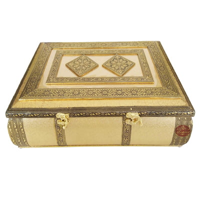 Golden Artificial Leather finish, Wooden Handmade Extra Large PREMIUM Chocolate Box- (16x11x3.75)