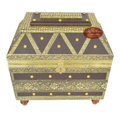 Big Royal Treasure Chest Style, Artificial Leather Finish, Wooden Handmade Jewellery Box - Brown