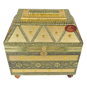Big Royal Treasure Chest Style, Artificial Leather Finish, Wooden Handmade Jewellery Box - Golden