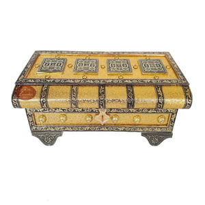 Royal Treasure Chest Style, Artificial Leather Finish, Wooden Handmade Jewellery Box Bahubali- Golden
