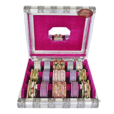 Antique Look Premium Wooden Handmade Bangle Box 3-Roll-Pink
