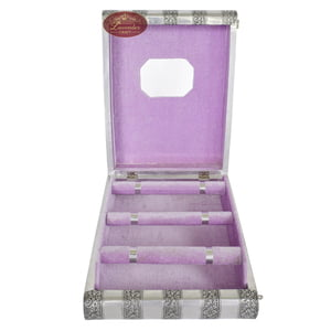 Antique Look Handmade Premium 3-Roll Bangle Box-Lavender