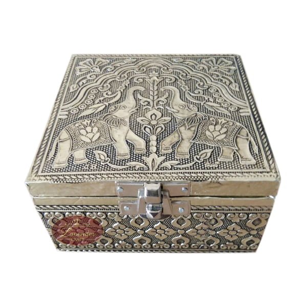 Antique Elephant Designed Wooden Handmade Jewelry Box Elephant - Red