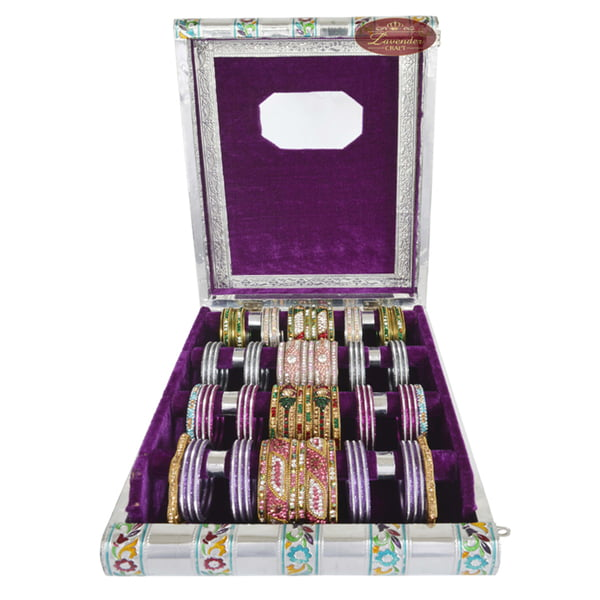 Silver Meenakari Flower Designed Wooden Handmade 4-roll Bangle Box Purple