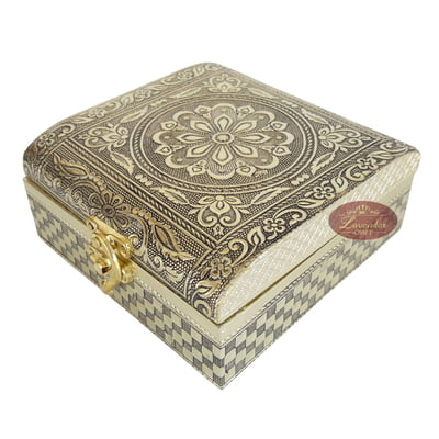 Antique Flower Designed, Slope Shaped, Wooden Handmade Gift Box (5x5x2)