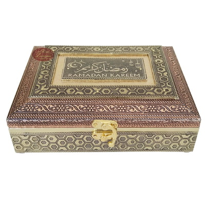 Ramadan Kareem Designed Wooden Handmade Antique Metal Finished Festival Gift Box