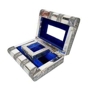 Antique Tiger Designed, Silver Metal Finish, Wooden Handmade Jewelry Box-Blue