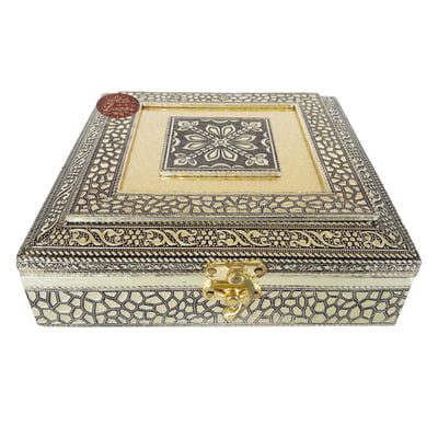 Antique Flower Designed, Metal Finish, Wooden Handmade Jewelry Gift Box Flower