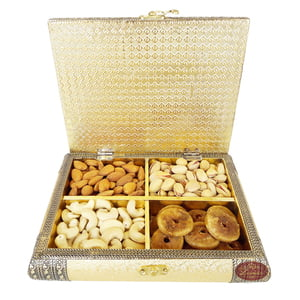 Golden Artificial Leather Finish, Wooden Handmade, Quadruple Dry Fruit Box (9x7x2.25)