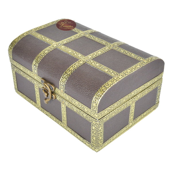 Brown Treasure Chest, Artificial Leather Finish, Wooden Handmade Jewelry Box