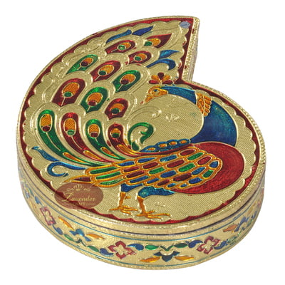"Peacock Shaped Handmade Meenakari Empty Dry Fruit Box - 7""X5.5"" G.M."