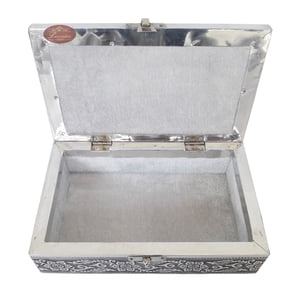 Antique Twin Elephant Designed, Silver Metal Finish, Wooden Handmade Jewelry Box Silver
