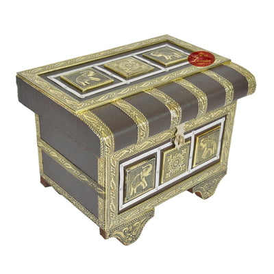 Royal Treasure Trunk Style, Artificial Leather Finish, Wooden Handmade Jewelry Box-Brown