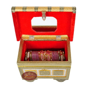 Royal Treasure Trunk Style, Artificial Leather Finish, Wooden Handmade Jewelry Box-Godlen