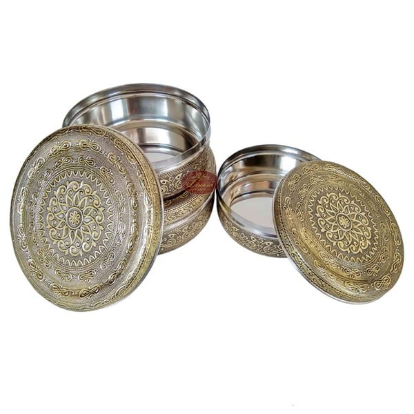 Antique Golden Infinity Designed Stainless Steel Make 3-Piece Container Set