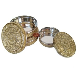 Antique Golden Flower Designed Stainless Steel Make 3-Piece Container Set