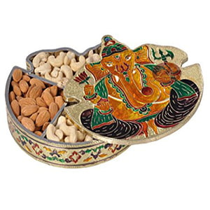 "Ganesh Shaped Handmade Meenakari Dry Fruit Box - G.M. (7""x 7"" x 1.25"" Inches)"