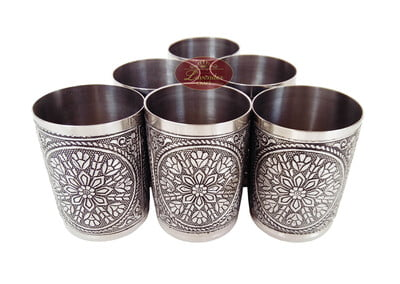 Antique Flower Designed Stainless Steel 6-glass Set