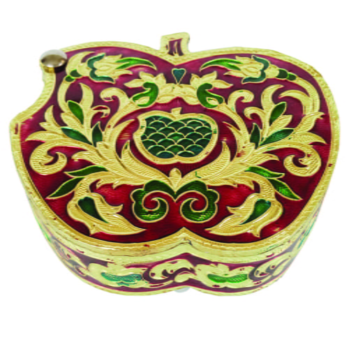 "Red Apple Shaped, Flower Designed, Hand-made Meenakari Dry-fruit Box SMALL(4.5"" X 5"" X 1.5"" Inches)."