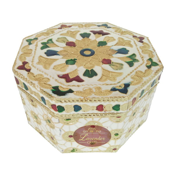 "Octagonal Shaped Handmade Meenakari Dry Fruit Box - White (4"" X 4"" X 2.25"" Inches)"