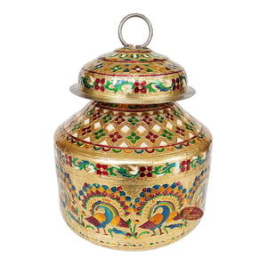 Peacock Designed, Meenakari Decorated, Stainless Steel Pot Set - 2 Pots With Top Lid G.M. -