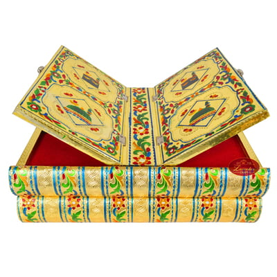 Rehal Holy Quran Book Stand-book Box - Wooden Handmade, Metal Finish, Meenakari Decorated Book-G.M.