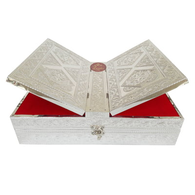 Silver Coloured Rehal Holy Quran Book Stand-book Box - Wooden Handmade