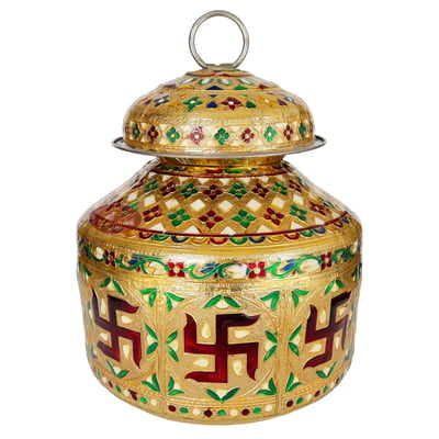 Swastik Designed, Meenakari Decorated, Small Stainless Steel Water Pot