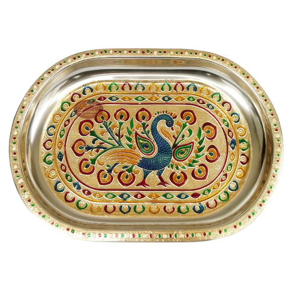 Peacock Designed Serving Tray with Matching 6-Glasses Set- Stainless Steel P2 G.M.