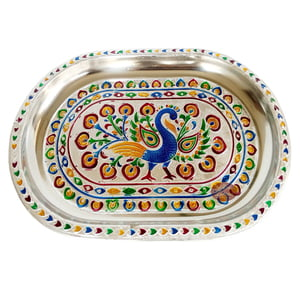 Peacock Designed Serving Tray with Matching 6-Glasses Set- Stainless Steel P2 S.M.