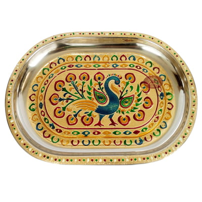 Peacock Designed Stainless Steel Meenakari Decorative Tray - P-2 Golden