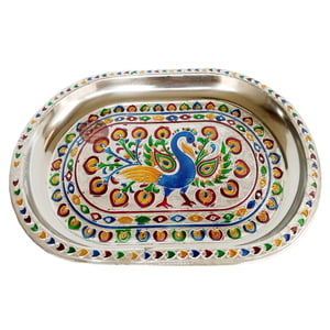 Peacock Designed Stainless Steel Meenakari Decorative Tray - P-2 Silver