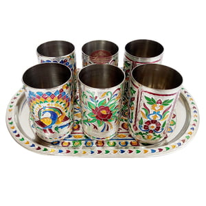 Royal Peacock Designed Serving Tray with Matching 6-Glasses Set- Stainless Steel S.M.