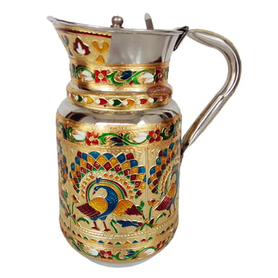 Royal Peacock Designed Meenakari Decorated Stainless Steel Jug - G.M.