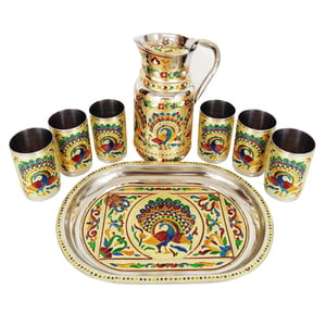 Royal Peacock Designed Meenakari Decorated Stainless Steel Jug/pot With Matching Tray & 6-glasses - G.M.