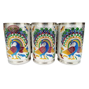 Royal Peacock Designed Stainless Steel Meenakari 6-glass Set -S.M.