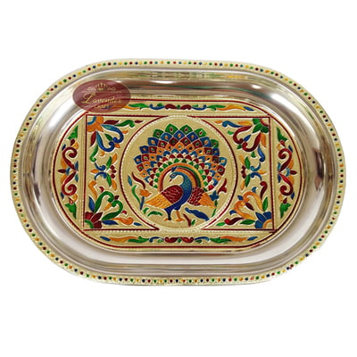 Royal Peacock Designed Stainless Steel Meenakari Decorative Tray - RP Golden