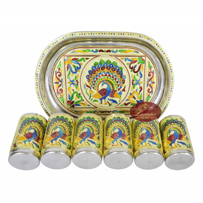 Royal Peacock Designed Serving Tray with Matching 6-Glasses Set- Stainless Steel G.M.