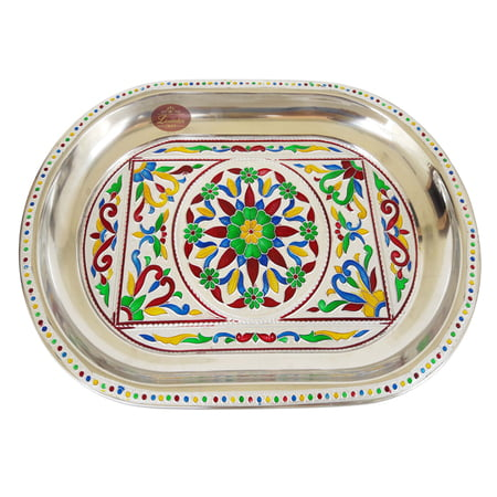 Royal Flower Designed Stainless Steel Meenakari Decorative Tray - RF-Silver