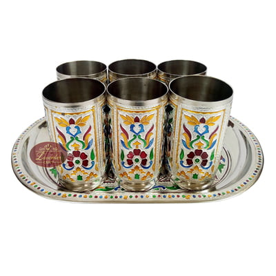 Royal Flower Designed Serving Tray with Matching 6-Glasses Set- Stainless Steel S.M.
