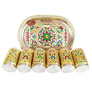 Royal Flower Designed Stainless Steel Meenakari Decorative Tray - RF Golden