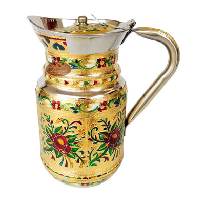 Rose Designed Meenakari Decorated Stainless Steel Jug - G.M.