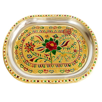 Red Rose Designed Stainless Steel Meenakari Decorative Tray - Rose G.M