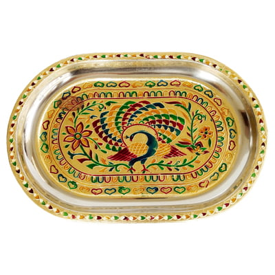 Peacock Designed Stainless Steel Meenakari Decorative Tray - P-1 Golden