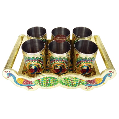 Twin Peacock Designed Wooden Meenakari Tray With Matching 6-glasses Set - G.M.