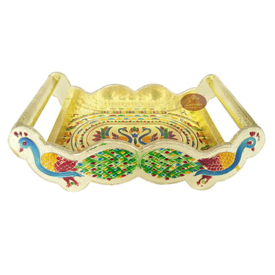 Twin Peacock Designed Wooden Meenakari Tray - G.M.