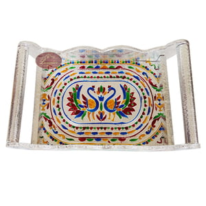 Twin Peacock Designed Wooden Meenakari Tray -S.M.